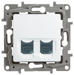 Телефонна розетка 2xRJ 11 без крачета, цвят – бял