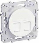 Интернет розетка шнайдер серия Odace, механизъм, 2X RJ45, бяла