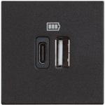 Розетка USB двойна за зареждане  типС 5Vdc до 3000mAh, черно